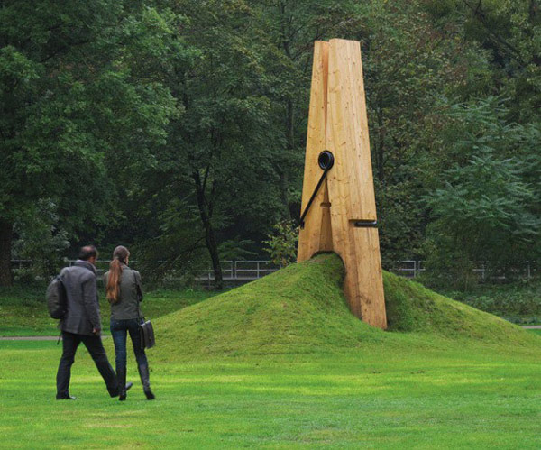 Giant Wooden Clothespin Sculpture in Belgium by Artist Mehmet Ali Uysal